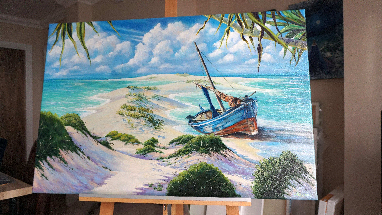 Artwork Gift White Castle Seaside Oil Painting Canvas Home
