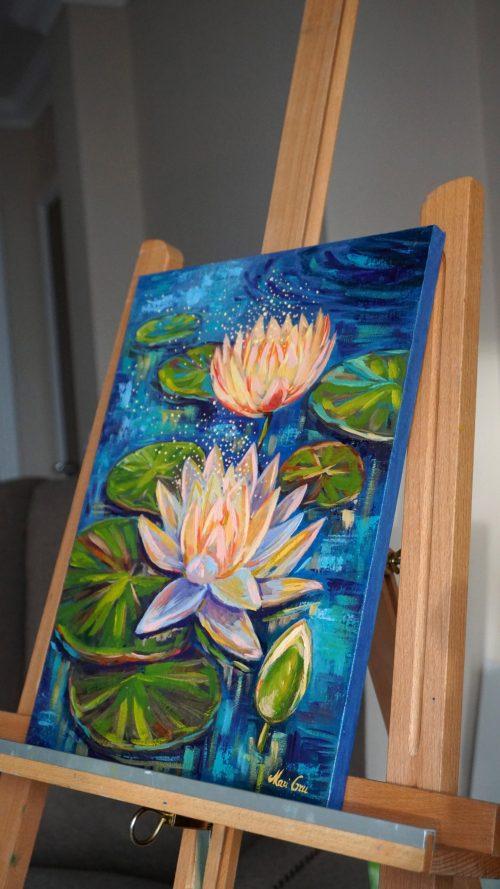 original oil painting by Mari Gru waterliles
