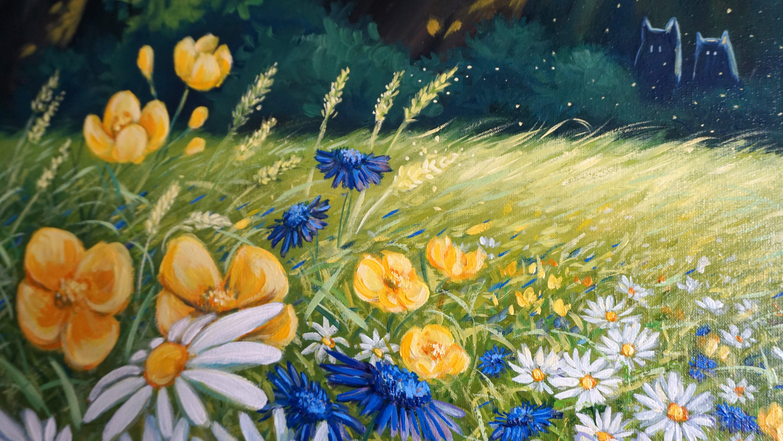 Oil Painting On Canvas Chamomile Field Large Original Wall Art Of Flower Field Modern Hand Painted Home Decor For Living Room By Mari Gru Mari Gru Studio Mari Gru Studio