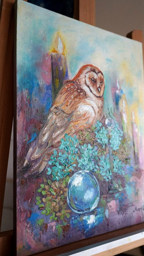 wizard's owl oil painting