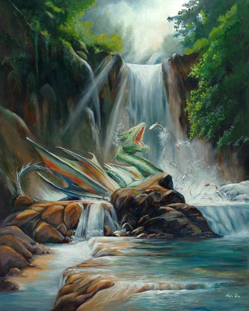 Fantasy dragon oil painting