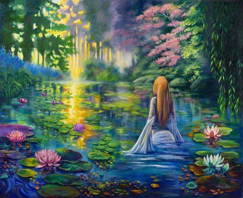 magic lake oil painting
