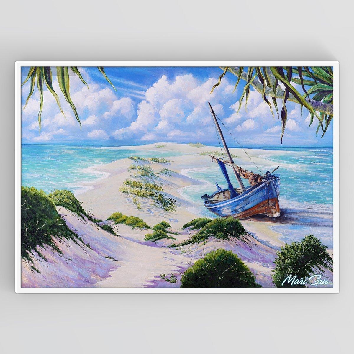 Oil Painting on Canvas Seaside Adventure, Large Original