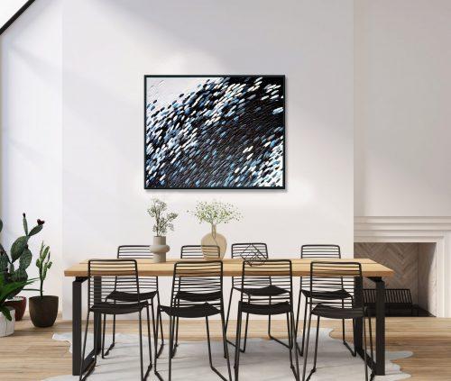 'Black & White Schooling Fish' wall art by Mari Gru in interior