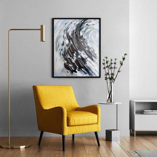 'Black & White Fish Swirl' - wall art in modern interior by Mari Gru