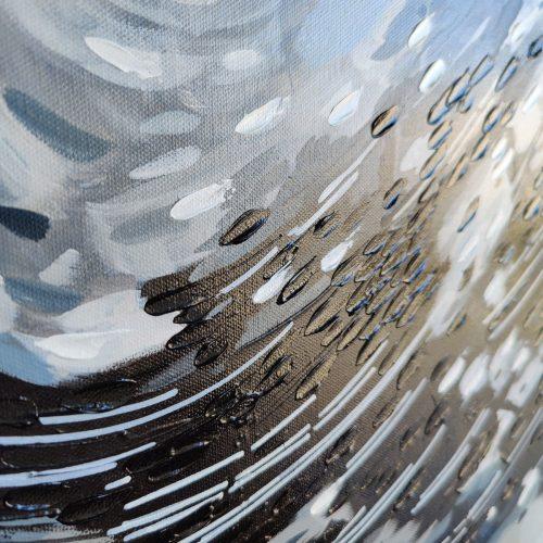 'Black & White Fish Swirl' - closeup of wall art on canvas by Mari Gru