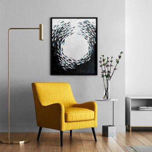 'Black & White Fish Vortex' - wall art in modern interior by Mari Gru