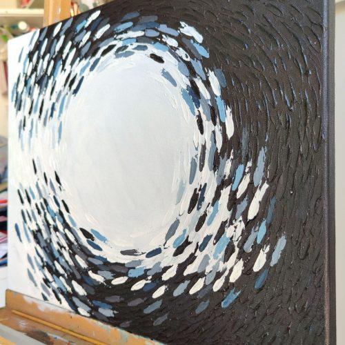 'Black & White Fish Vortex' - closeup of wall art on canvas by Mari Gru